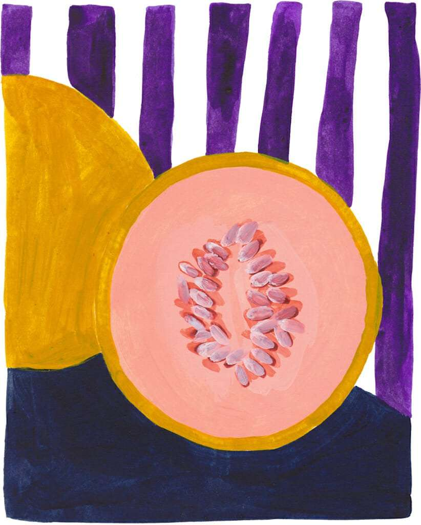 Original Painting - Melon Still Life Acrylic on Paper, 10 x 15 cm