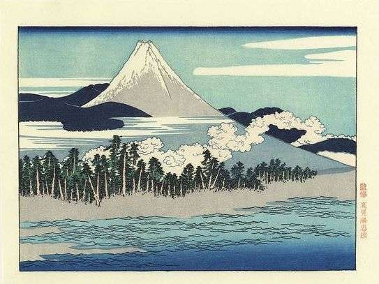 Mt. Fuji Scenery at Senbon Matsubara in Numazu  Posthumous Edition Japanese Woodblock